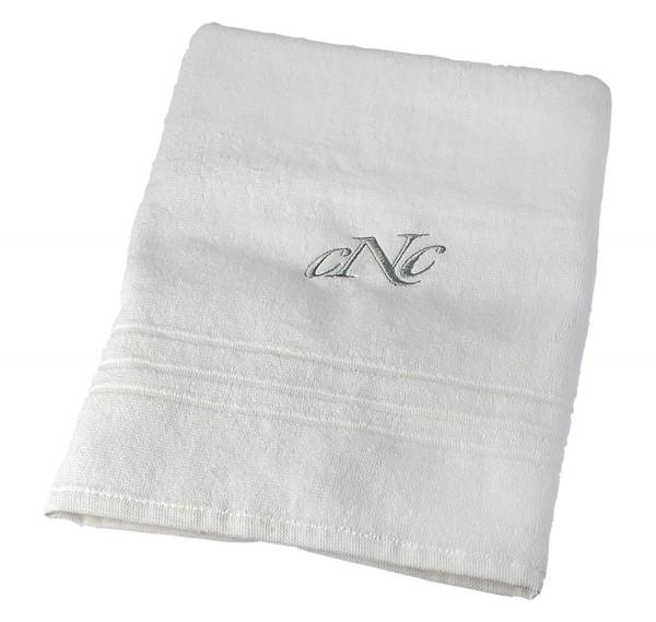 Handtuch mit CNC Bestickung, 50 x 90 cm, weiß