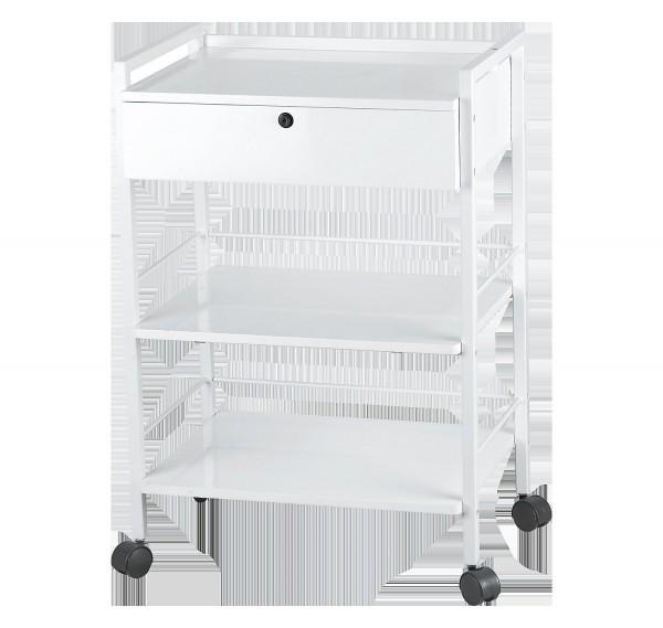 Beistellwagen aus Metall mit Rollen, 3 Ablageflächen und 1 Schublade, abschließbar